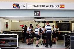 The pit garage of Fernando Alonso, McLaren