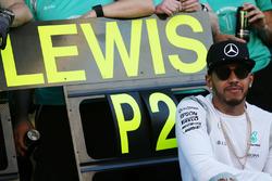 Lewis Hamilton, Mercedes AMG F1 Team celebrates a 1-2 finish for the team