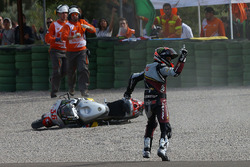 Mika Kallio, Marc VDS Racing Team reacts after being taken down by Maverick Viñales, Pons HP 40