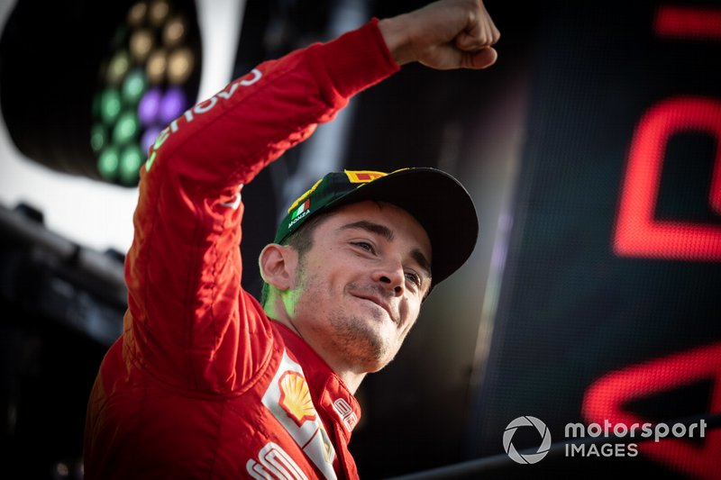 Race winner Charles Leclerc, Ferrari, celebrates on the podium