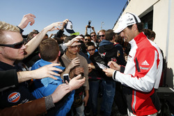 #1 Porsche Team Porsche 919 Hybrid:  Mark Webber, signs autographs for the fans