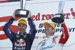 Podium: winner Jamie Whincup, Triple Eight Race Engineering Holden, second place Craig Lowndes, Triple Eight Race Engineering Holden
