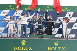 Podium LMP3: race winners Thomas Laurent, Alexandre Cougnaud, DC Racing, second place Martin Brundle, Christian England, United Autosports, third place John Falb, Graff with Jackie Chan, actor