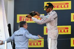 Podium: second place Lewis Hamilton, Mercedes AMG F1 Team