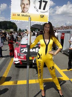 Grid girl of Miguel Molina, Audi Sport Team Abt Sportsline, Audi RS 5 DTM