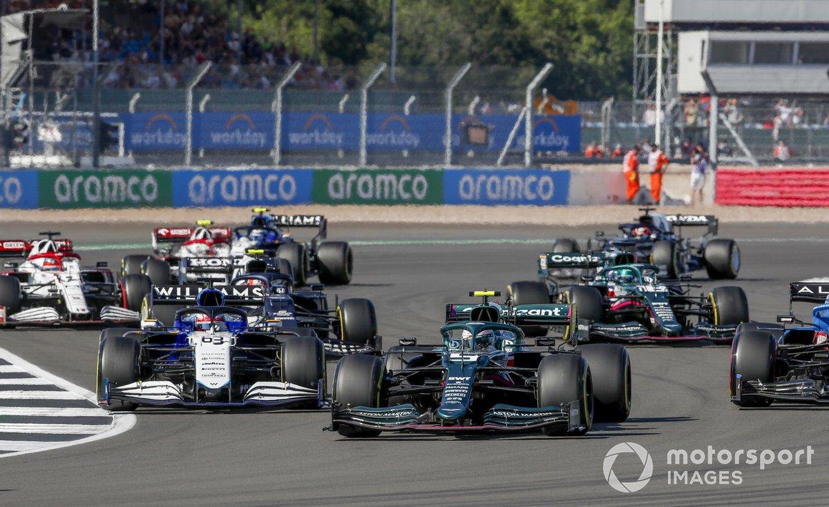 Sebastian Vettel, Aston Martin AMR21, George Russell, Williams FW43B, Pierre Gasly, AlphaTauri AT02, and Lance Stroll, Aston Martin AMR21