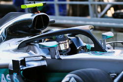 Nico Rosberg, Mercedes AMG F1 W07 Hybrid running the Halo cockpit cover