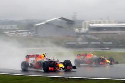 Max Verstappen, Red Bull Racing RB12 and team mate Daniel Ricciardo, Red Bull Racing RB12 battle for position