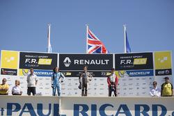 Podium: race winner Lando Norris, Josef Kaufmann Racing, second place Max Defourny, R-ace GP, third place Dorian Boccolacci, Tech 1 Racing