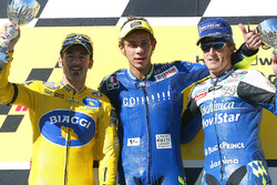 Race winner Valentino Rossi, second place Max Biaggi, third place Sete Gibernau
