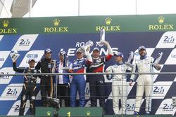 Podium GT3: race winners Aleksey Basov, Victor Shaitar, AF Corse, second place Hiroshi Hamaguchi, Adrian Quaife-Hobbs, FFF Racing Team, third place Egidio Perfetti, Klaus Bachler, Mentos Racing