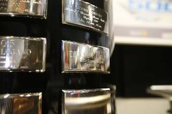 The Daytona 500 Trophy with the name of Denny Hamlin, Joe Gibbs Racing Toyota