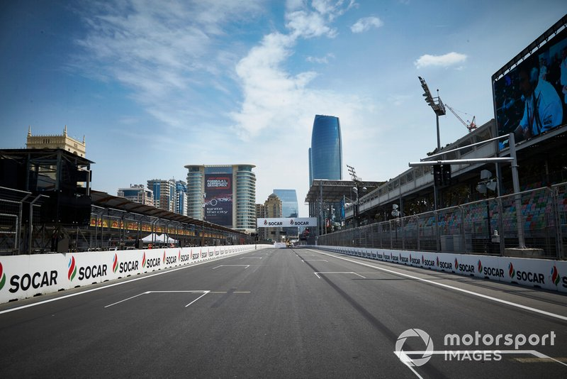 The Baku City Circuit pit straight