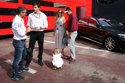 Toto Wolff, Mercedes AMG F1 Shareholder and Executive Director with Gerhard Berger and his family