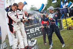 Podium: Ott Tanak, Raigo Molder, DMACK World Rally Team; Andreas Mikkelsen, Anders Jäger, Volkswagen Polo WRC, Volkswagen Motorsport; Hayden Paddon, John Kennard, Hyundai i20 WRC, Hyundai Motorsport
