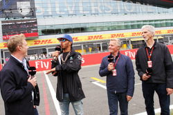 (L to R): Simon Lazenby, Sky Sports F1 TV Presenter; Lewis Hamilton, Mercedes AMG F1; Johnny Herbert, Sky Sports F1 Presenter; Damon Hill, Sky Sports Presenter