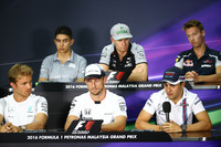 Formula 1 Photos - The FIA Press Conference (from back row (L to R)): Esteban Ocon, Manor Racing; Nico Hulkenberg, Sahara Force India F1; Daniil Kvyat, Scuderia Toro Rosso; Nico Rosberg, Mercedes AMG F1; Jenson Button, McLaren; Felipe Massa, Williams