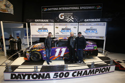 Denny Hamlin, Joe Gibbs Racing Toyota with Joe Gibbs and crew chief  Mike Wheeler