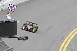 #52 PR1 Mathiasen Motorsports Oreca FLM09: Robert Alon, Tom Kimber-Smith, Jose Gutierrez, Nick Boulle takes the checkered flag