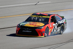 Martin Truex Jr., Furniture Row Racing Toyota with a blown engine