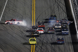 Crash: Timothy Peters, Red Horse Racing Toyota; Christopher Bell, Kyle Busch Motorsports Toyota