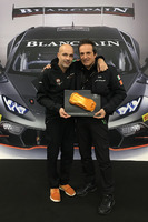 Lamborghini Super Trofeo Photos - Armando Donazzan, Orange1 Racing president, and Tancredi Pagiaro, Lazarus team owner, celebrate 2016 International GT Open title at Lamborghini World Final in Valencia