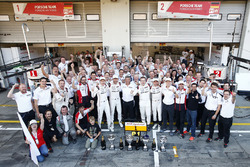 Race winners #1 Porsche Team Porsche 919 Hybrid: Timo Bernhard, Mark Webber, Brendon Hartley with the rest of the Porsche Team