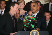 NASCAR Sprint Cup Photos - Kyle Busch, Joe Gibbs Racing Toyota meets with President Barack Obama at the White House
