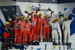 LMP1 podium: winners Matheo Tuscher, Dominik Kraihamer, Alexandre Imperatori, Rebellion Racing, second place Nicolas Prost, Nick Heidfeld, Nelson Piquet Jr., Rebellion Racing, third place Simon Trummer, James Rossiter, Oliver Webb, ByKolles Racing