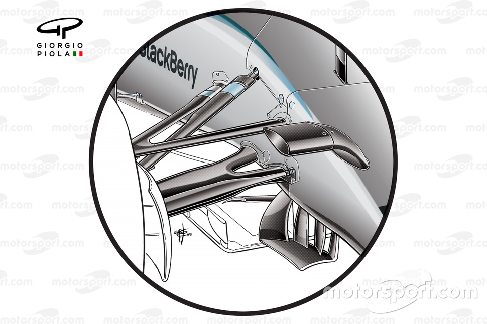 Mercedes W06 front wishbone and suspensions design