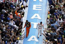 Martin Truex Jr., Furniture Row Racing Toyota and Regan Smith, Tommy Baldwin Racing Chevrolet