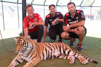 Supercars Photos - Supercars drivers Steve Owen, Chaz Mostert and James Courtney take time out to take in some of the attractions at Dreamworld