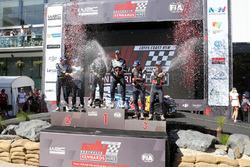 Podium: winners Jari-Matti Latvala, Miikka Anttila, Volkswagen Motorsport, second place Sébastien Ogier, Julien Ingrassia Volkswagen Motorsport, third place Thierry Neuville, Nicolas Gilsoul, Hyundai Motorsport