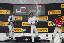 Alexander Albon, ART Grand Prix; Arjun Maini, Jenzer Motorsport and Charles Leclerc, ART Grand Prix celebrate