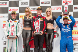 GT podium: second place Patrick Long, winner Andrew Palmer, third place Ryan Eversley