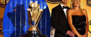 NASCAR Sprint Cup Gracious Busch accepts his awards