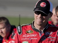 Harvick visits the media at Loudon