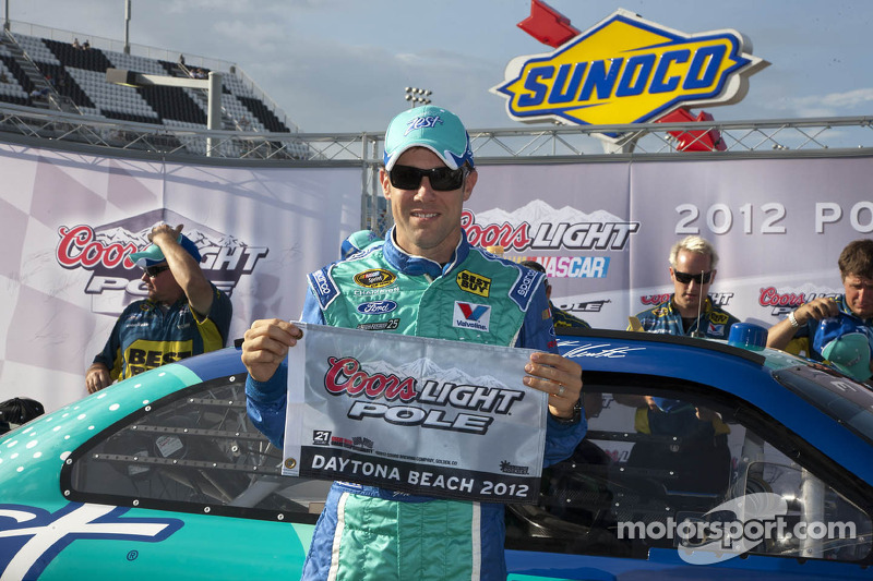 Kenseth celebrates his first pole on the famous Daytona oval