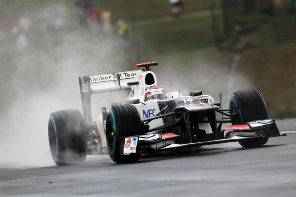 Kobayashi splashes his way to Friday's fastest lap at Spa in Belgium