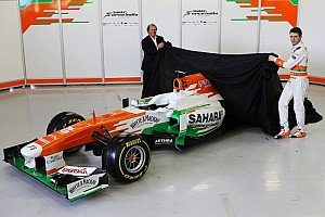 The covers are off the Force India VJM06 at the Silverstone circuit