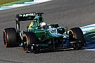 Van der Garde and Caterham CT03-05 day one on track