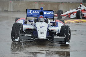 IndyCar Breaking news Aleshin lucky to escape scary accident unscathed when rain hits Toronto - video