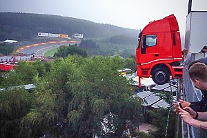 Blancpain Endurance Breaking news Stunning sight as car falls off paddock and truck hangs on the ledge at Spa-Francorchamps