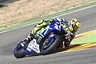 Rossi se cae durante las pruebas de Michelin en Aragón