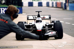 David Coulthard in the pit