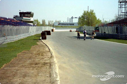 East hairpin exit, old start/finish line