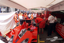 Michael Schumacher in the Ferrari 'garage': as tight as it gets