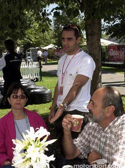 Juan Pablo Montoya and his parents: mother Libia and father Juan