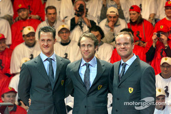 Michael Schumacher, Luca Badoer and Rubens Barrichello