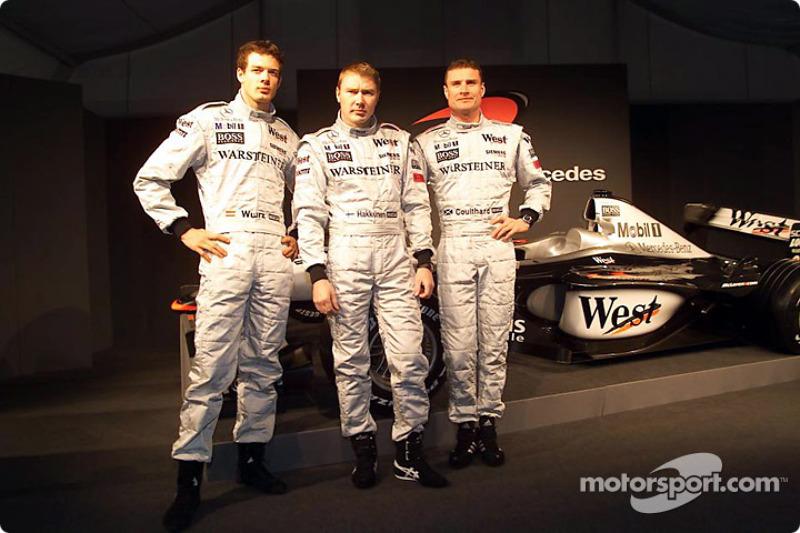 Alexander Wurz, Mika Hakkinen and David Coulthard